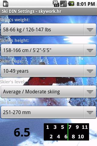 Ski DIN Settings- screenshot