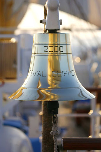 Royal-Clipper-bell - The bell on the main deck of Royal Clipper commemorates its maiden voyage in 2000.