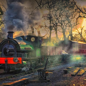 the evening train by Phil Robson - Transportation Railway Tracks (  )