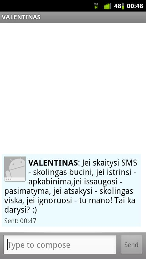 SMS siuntimas internetu - screenshot