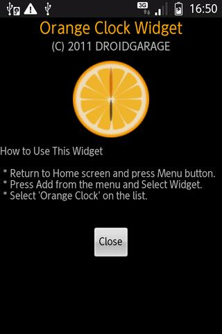 Orange Clock Widget - screenshot