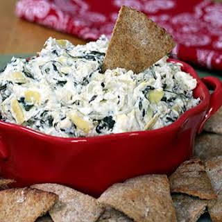 Healthy Spinach Artichoke Dip - Slow Cooker or Oven.