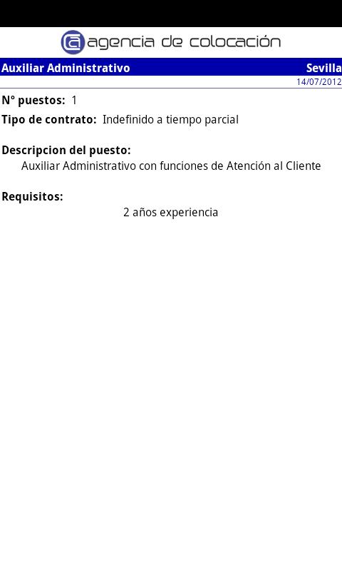 Agencia de Colocación- screenshot