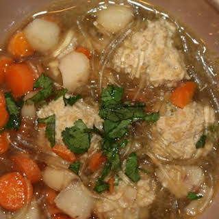 Asian Noodle Soup with Gingered Chicken Meatballs.