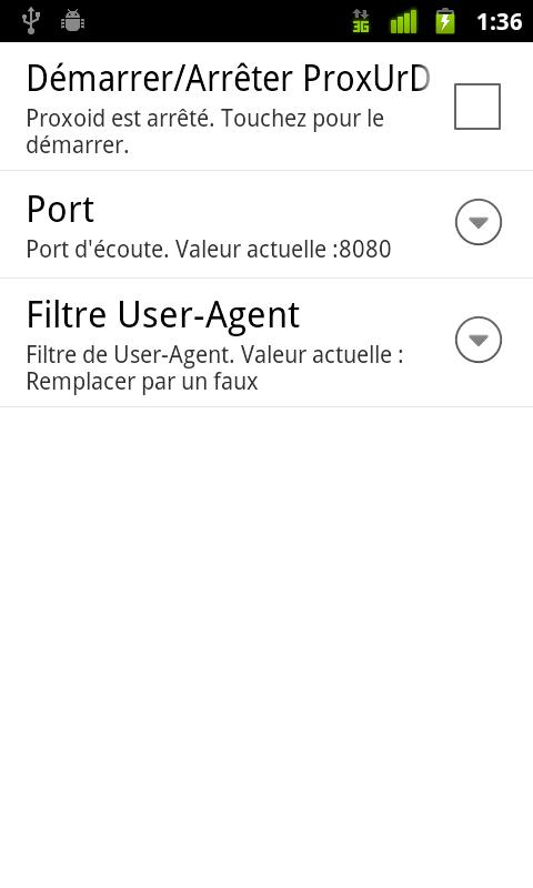 ProxUrDroid - screenshot