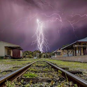 I will catch the next train by Craig Eccles - Landscapes Weather ( thunder, clouds, lightning storm, perth, station, tracks, storm, lightning strike., lightning, australia, train, thunder storm, thunder bolt,  )