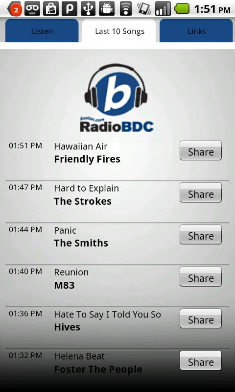 Boston.com RadioBDC - screenshot
