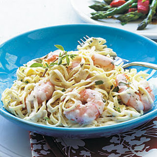 Creamy Garlic Shrimp and Pasta.