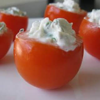 Cherry Tomatoes Filled with Goat Cheese.