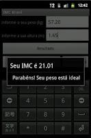 Screenshot of Imc Índice de Massa Corporal