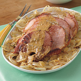 Ham Steaks with Fennel and Mustard Sauce.