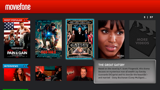 Moviefone for Google TV Screenshot 1