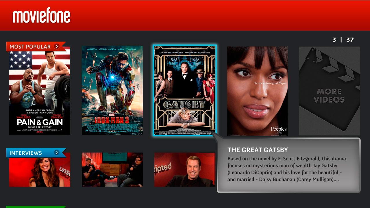 Moviefone for Google TV - screenshot