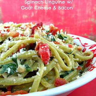 Spinach Linguine with Goat Cheese and Bacon.