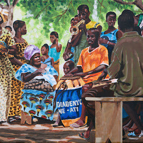 Village du Togo en fête by Jonguy Demontigny - Painting All Painting