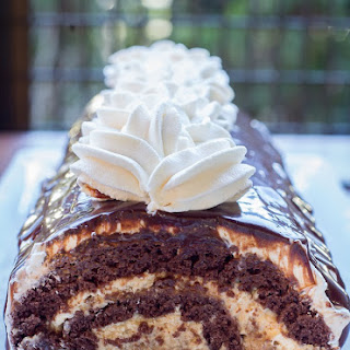 Chocolate Roll with Walnuts & Dulce de Leche Buttercream