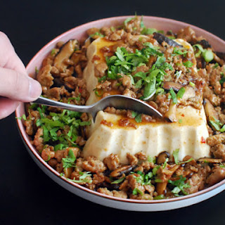 Silken Tofu With Spicy Sausage.