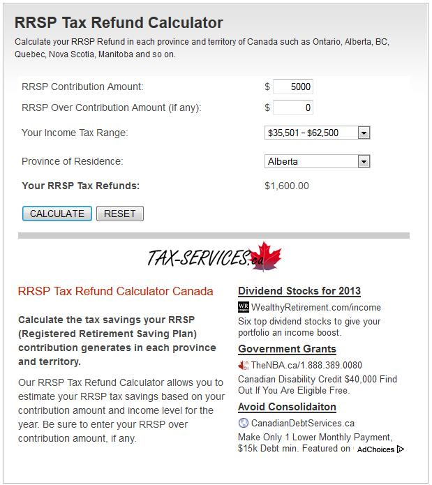 RRSP Tax Refund Calculator - screenshot