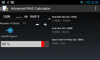 Screenshot of Advanced RAID Calculator
