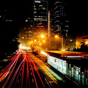 Light Trails on Jakarta by Eko Madiasto - City,  Street & Park  Night