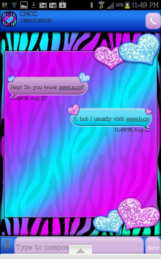 GO SMS - Hearts Candy Zebra 4- screenshot