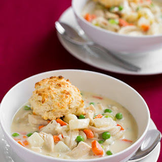 Creamy Chicken Pot Pie Soup with Parmesan Drop Biscuits.
