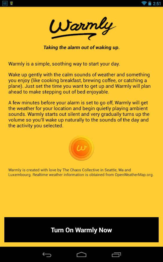 Warmly — An alarm clock - screenshot