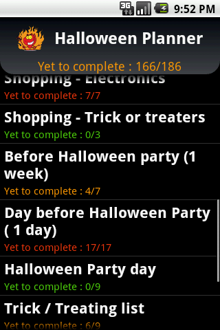 Halloween Planner - screenshot