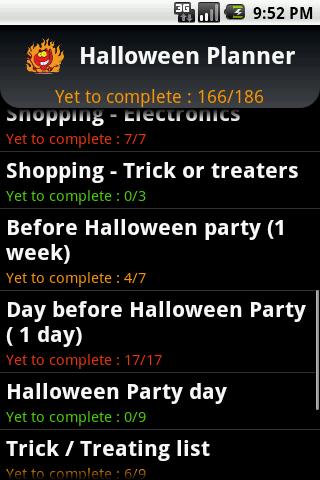 Halloween Planner - screenshot
