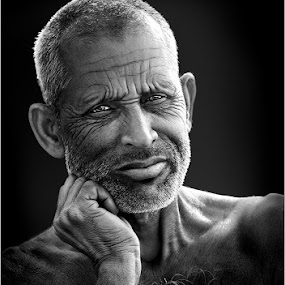 Casual Thoughts by Subrata Kar - People Portraits of Men ( monochrome, black & white, men, portraits, people )