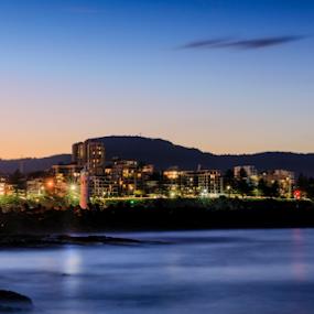 Wollongong Twilight by Bradley Rasmussen - City,  Street & Park  Skylines ( water, canon, wollongong, waterscape, lighthouse, sea, ocean, nsw, seascape, ef 24-70, landscape, 6d, australia, sunrise )
