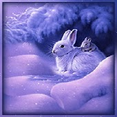 Rabbits Under Purple Snow Tree