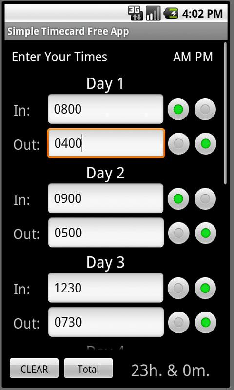Simple Timecard - screenshot