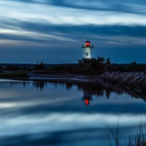 Lighthouse by Miren Etcheverry - Landscapes Waterscapes ( martha's vineyard, vineyard, sunset, lighthouse, night, sunrise, edgartown, light,  )
