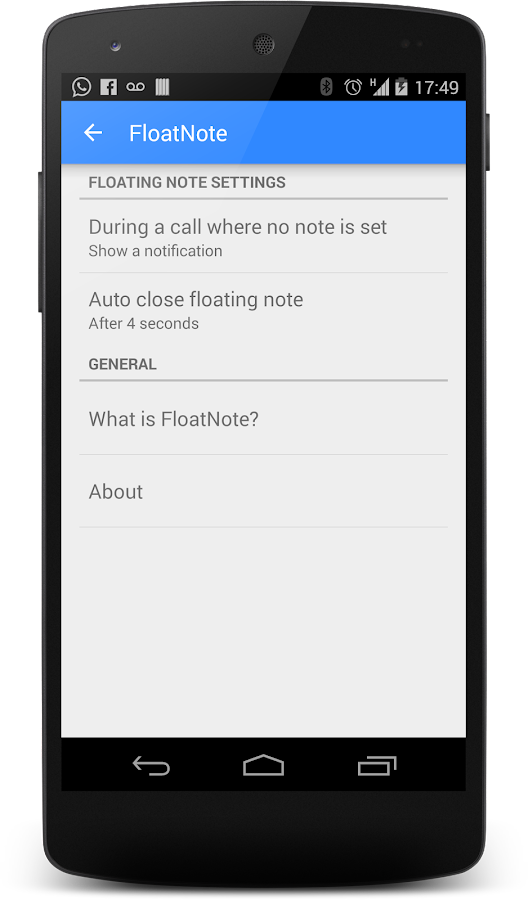 FloatNote - phone call notes- screenshot