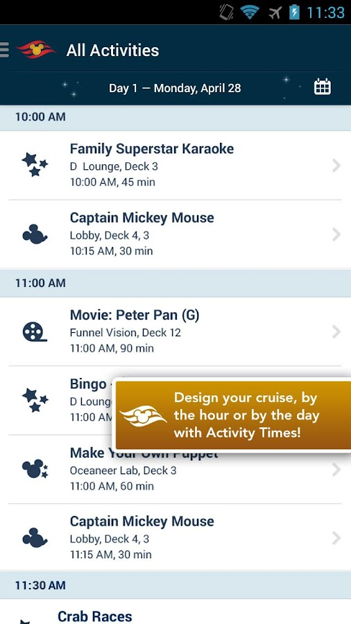 Disney Cruise Line Navigator - screenshot