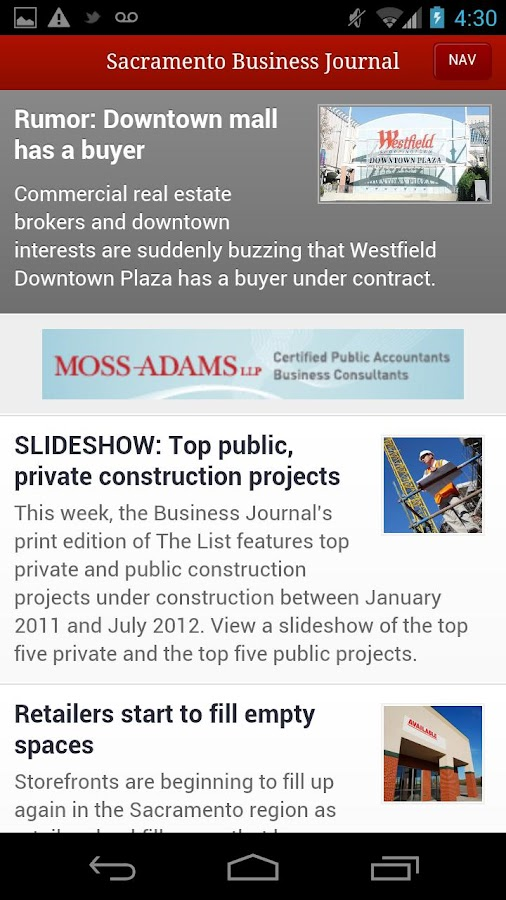 Sacramento Business Journal- screenshot