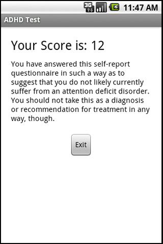 ADHD Test- screenshot
