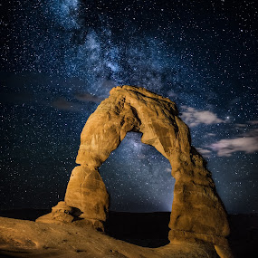 Delicate Arch Milky Way by Jeff Fahrenbruch - Landscapes Starscapes