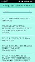 Screenshot of Código del Trabajo Colombia