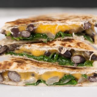 Black Bean, Spinach And Cheese Quesadillas.