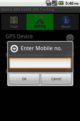 Bonrix SMS based GPS Tracking- screenshot