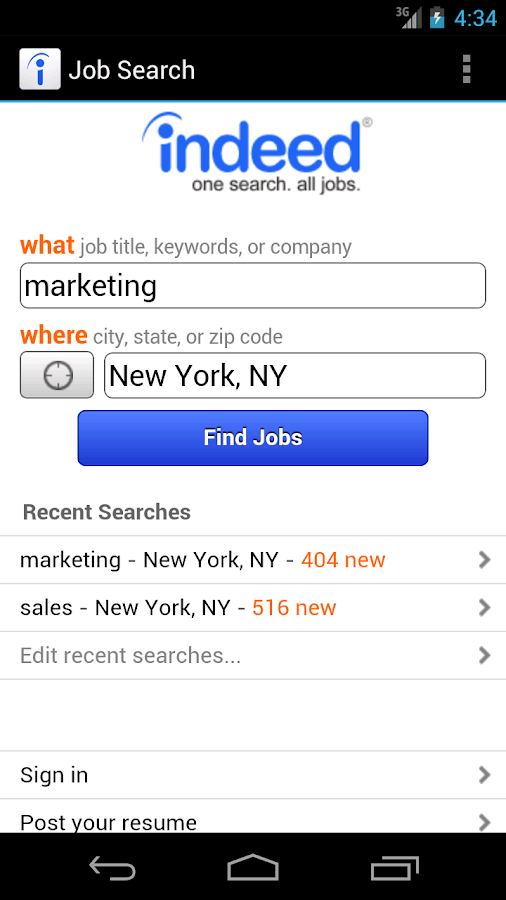 Job Search - screenshot