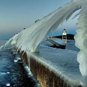 Blue Hour by David Johnson - Landscapes Weather ( sculptures, grand marais, ice, lighthouse, lake superior )
