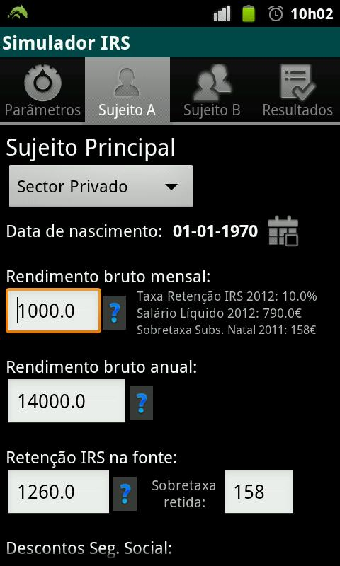 Simulador IRS - screenshot