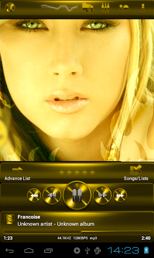 Poweramp skin 黄色金属