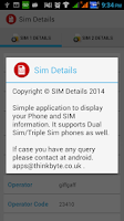 Screenshot of Sim Details