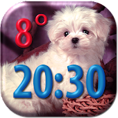 Puppies Clock Weather Widget