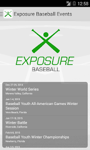 Exposure Baseball Events- screenshot thumbnail