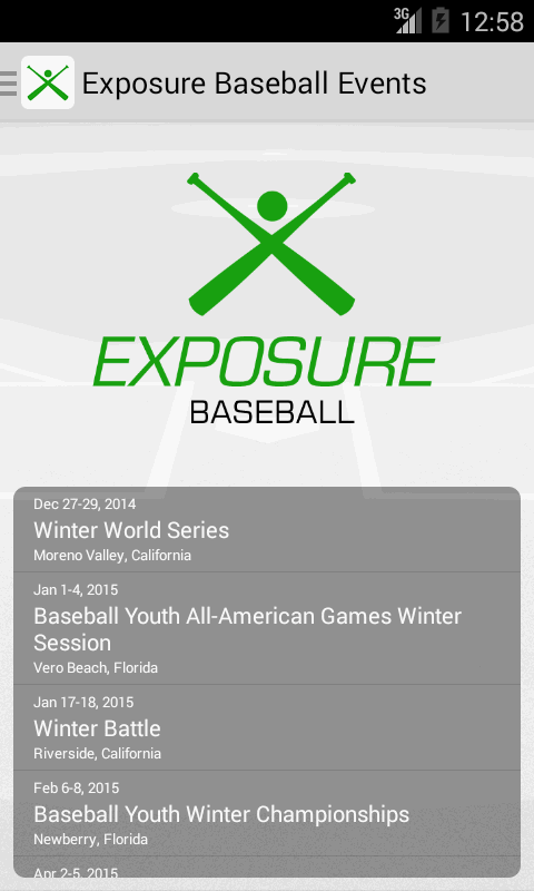Exposure Baseball Events- screenshot
